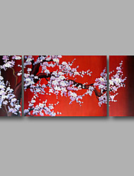 "Ready to Hang Stretched Hand-painted Oil Painting 56""x24"" Three Panels Canvas Wall Art White Blossom Trees Red"