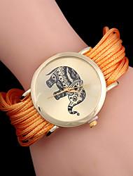 L.WEST  Women's Single Circle Around The Rope Elephant Rivet Analog Quartz Bracelet Watch Cool Watches Unique Watches