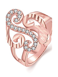 Decent Elegant Women's  White Zircon Gold-Plated Brass Statement Rings(Golden,Rose Gold,)(1Pcs)