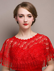Shawls Shawls Sleeveless Lace Red Wedding / Party/Evening Scoop Lace
