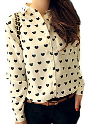 Women's Love Pattern Long Sleeve Chiffon Blouse