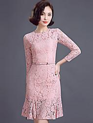 Women's New Fashion Temperament Nine Points Sleeve Bodycon Falbala Fishtail Dress