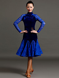 High-quality Velvet and Lace with Draped Latin Dance Dresses for Women's Performance(More Colors)