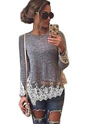 Damen T-Shirt  -  Spitze Baumwolle Langarm Rundhalsausschnitt