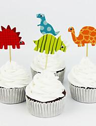 72pcs dinosaure party supplies bande dessinée hauts de forme de petit gâteau ramasser garçon d'anniversaire décorations de fête