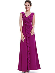 Women's Party/Cocktail Boho Plus Size / Chiffon Dress,Solid Deep V Maxi Sleeveless Purple Spandex Spring