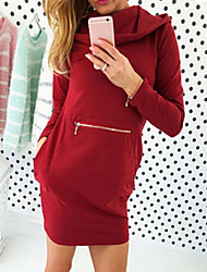 Women's Solid Red / Brown / Green Dress , Casual Hooded Long Sleeve