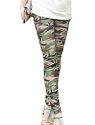 Women's Green Skinny Slim Elastic Printing Leggings