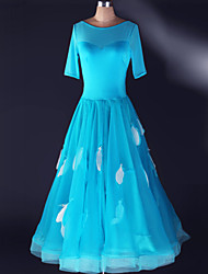 Robes(Bleu / Bleu Royal / Blanc,Elasthanne,Danse moderne)Danse moderne- pourFemme Au drapée Spectacle Danse de Salon