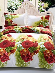 3D Bedding Sets Flower Printed Duvet Cover Bed Sheet Queen Size 3D Style