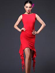 Latin Dance Dresses Women's Performance Spandex / Polyester Draped 1 Piece Black / Red / Zebra Latin Dance / Samba