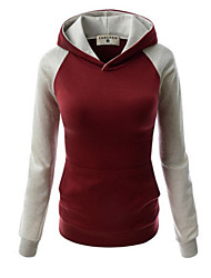 Women's Casual/Daily Simple Hoodie Color Block Micro-elastic Cotton Long Sleeve Fall
