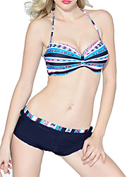 Womens Stripe Push-up Paddings Halter Bikini Swimwear