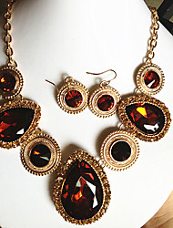 MISSING U Women Vintage / Party Gold Plated / Alloy / Gemstone & Crystal Necklace / Earrings Jewelry Sets