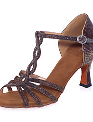 Women's Dance Shoes Sparkling Glitter Sparkling Glitter Latin Sandals Flared HeelPractice / Professional / Indoor /
