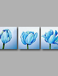 "Ready to Hang Stretched Hand-painted Oil Painting 72""x24"" Three Panels Canvas Wall Art Light Blue Tulips"