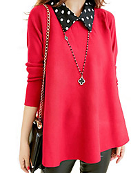 Women's Polka Dot Red / Black Pullover , Plus Size / Casual / Day Long Sleeve
