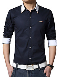 Men's Fashion Special Collar Solid Business Slim Long-Sleeve Shirt