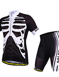 SALETU Cycling Jersey with Shorts Unisex Short Sleeve Bike Breathable Quick Dry Anatomic Design Reflective Strips Sweat-wickingJersey