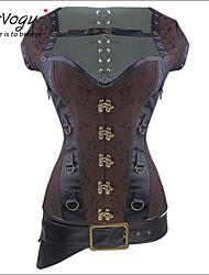Burvogue Women's Steel Boned Overbust Brocade Steampunk Bustiers Corsets Costumes