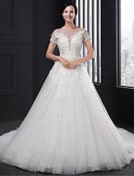 A-line Wedding Dress Court Train Scoop Lace with Appliques