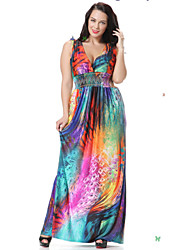 Women's Casual / Day / Boho / Beach Floral Skater Dress , Deep V Maxi Spandex