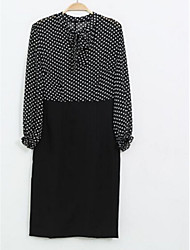 Women's Polka Dot Black Dress , Party Shirt Collar Long Sleeve
