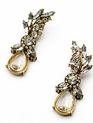 New Arrival Fashional Retro Rhinestone Crystal Leaf Earrings