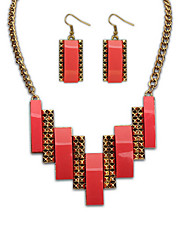 MPL European and American fashion folk style square all-match Necklace Earrings Set