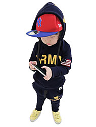 Cute Baby Boys Suit Letter Five Star Print Clothing Children Kids Sports Sets Dark