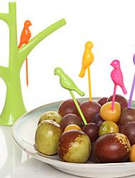 uccelli carino moda birdie frutta snack forchette da dessert con il supporto forma di albero
