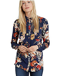 Women's Floral Blue Shirt , Shirt Collar Long Sleeve