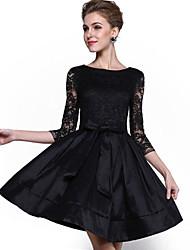 Damen Spitze / Das kleine Schwarze / Skater Kleid-Party/Cocktail / Übergröße Anspruchsvoll Solide Rundhalsausschnitt Übers Knie ¾-Arm