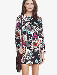 Women's Beatiful Floral Print Round Long Sleeve Backless Slim Dress