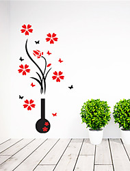 Hot Acrylic Crystal DIY 3D Vase Flower Wall Sticker