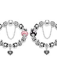 Fashion jewerly Strand Beads Bracelets Glass Beads Charm Bracelets Silver European beads bracelets Women Gift PH004