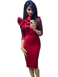 Women's Hot Sale Solid Vintage Bowknot Slim Casual Round Neck Long Sleeve Dress