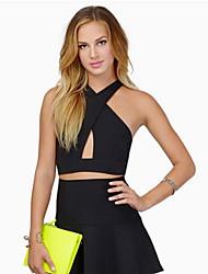 Women's Solid Black / Orange Blouse , Halter Sleeveless