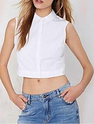 Women's Solid White Shirt , Shirt Collar Sleeveless