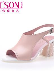 PT'SON Women's Sheepskin Chunky Heel Sandals Pink
