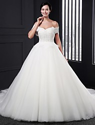 Ball Gown Wedding Dress-Court Train Sweetheart Tulle