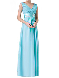 Women's Surplice Neck/Deep V Pleated Dress , Chiffon Maxi