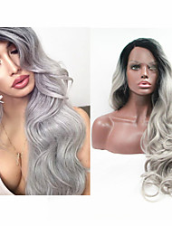 "18""-24""Brazilian Human Ombre Human Lace Front Wig 1b/ Grey Full Lace Wig Two Tone Gray Human Hair Lace Wigs"