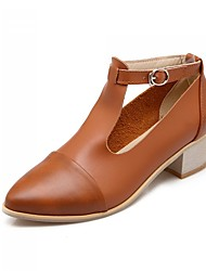 Women's Shoes Leatherette Low Heel Mary  Flats Office & Career / Dress / Casual Black / Brown / Silver / Beige