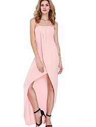 Women's Sexy  Casual Strapless Sleeveless Solid Maxi Dress