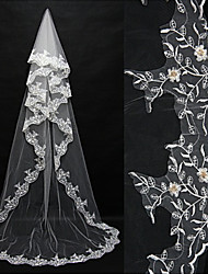 Wedding Veil One-tier Blusher Veils / Chapel Veils / Cathedral Veils Lace Applique Edge Tulle Ivory