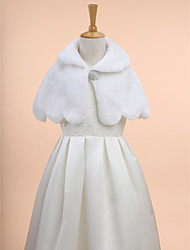 Kids' Wraps Capelets Sleeveless Faux Fur Ivory Wedding Party/Evening Wave-like Clasp