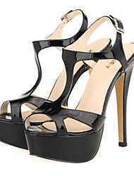 Women's Shoes Leatherette Stiletto Heel Heels / Peep Toe / Platform Sandals Wedding / Party & Evening / DressBlack /