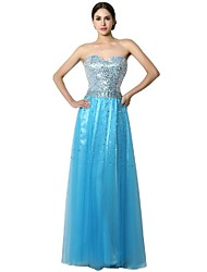 Formal Evening Dress Sheath / Column Sweetheart Floor-length Chiffon with Crystal Detailing / Sequins