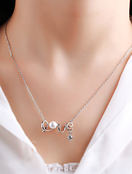 925 sterling silver pearl necklace fashion women LOVE Valentine's Day